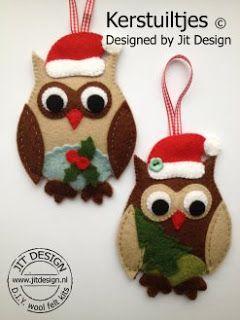 Jit Design: Gratis Patroonblad Kerstuiltjes bij DIY wol vilt pakket Uiltjes