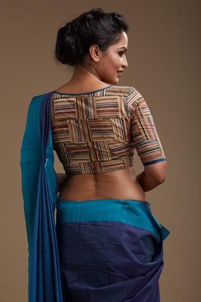 Round necked blouse with quirky hand block printed stripes THE KALAMKARI EDITION Handwoven, designed and tailored in Kerala Pure cotton Sleeve length...