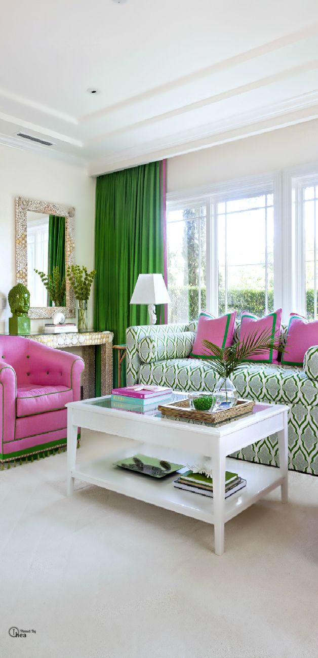 Bright U0026 Bold ○ Living Room   Pink U0026 Green All ...