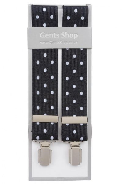 Black Trouser Braces with Large White Polka Dot Design - Available In 3 Sizes