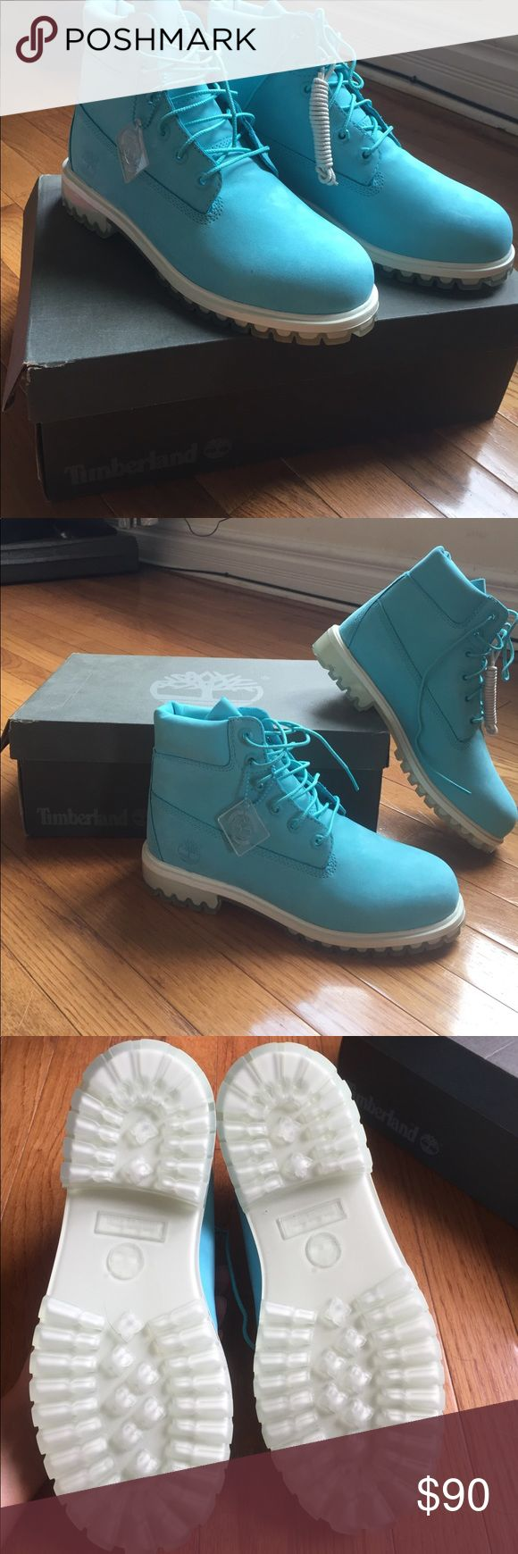 """Tiffany blue original 6"""" timberland blue size 7 Brand new Tiffany blue timberlands, never worn. Got them as a gift, they're too big for me Timberland Shoes Winter & Rain Boots"""