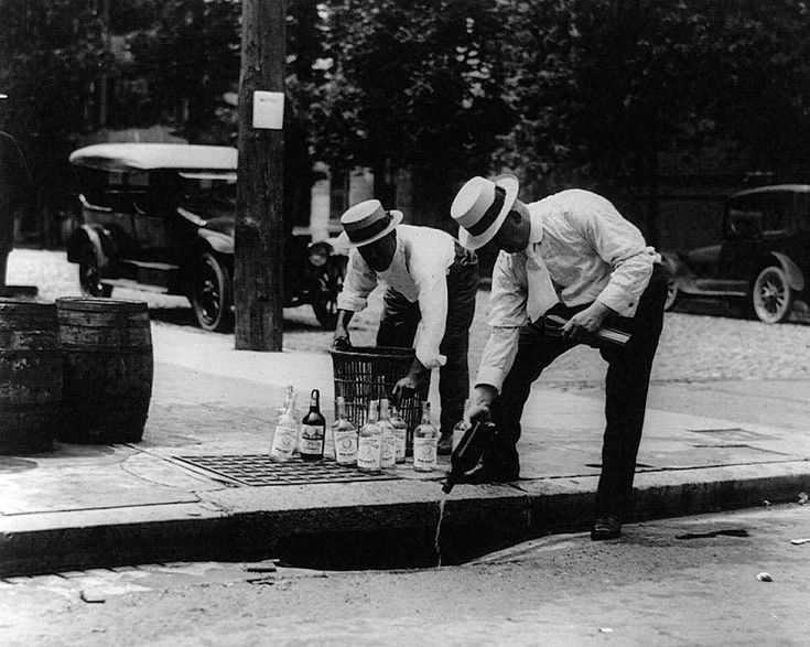 Photo of a man pouring whiskey into a sewer during Prohibition. Prohibition of alcohol, often referred to simply as prohibition, also known as The Noble Experiment, refers to a sumptuary law which prohibited alcohol. | eBay!
