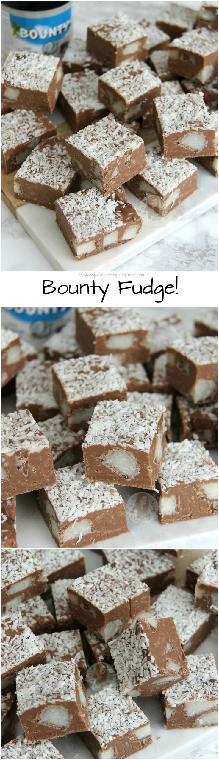 Bounty Fudge! ❤️ Coconut & Chocolate Bounty Fudge… SO easy to make and so deliciously coconutty and chocolatey that you'll want to make more then one batch!
