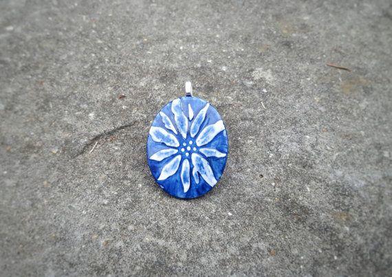Dark Blue Ceramic Pendant