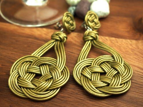 flower shape - leather knot earring - JEWELRY AND TRINKETS