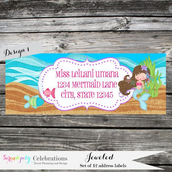 Set of 12 Personalized Printed Address Labels -Mermaid -Under the Sea -Return Address Labels -Sticker -Mailing Label -Birthday -Baby Shower