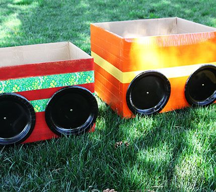 Duct tape cars. Perfect for a living room drive-in movie night.