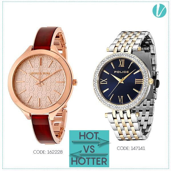 Hot Vs Hotter : Now Let Your Wrist Make A Statement - The Best Hand Accessories To Go From Day To Night - Shop Watches here : http://goo.gl/2ZuNhf #watches #michaelkors #police #tissot #wristaccessory