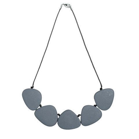 """Polka Luka """"Satori"""" Resin Necklace (Heron Blue Grey). Possibly one of the most useful necklaces you might ever wear!. Light and easy to wear, yet lovely and striking… Beads sit flat and look great over a boat neck T, or under a collared shirt. In a range of gorgeously rich colours to suit any outfit. The meaning behind the name: Satori is the Japanese word for enlightenment. Like this pendant, both simple and yet rich and detailed at the same time! Material: Resin on wax cotton cord Length…"""