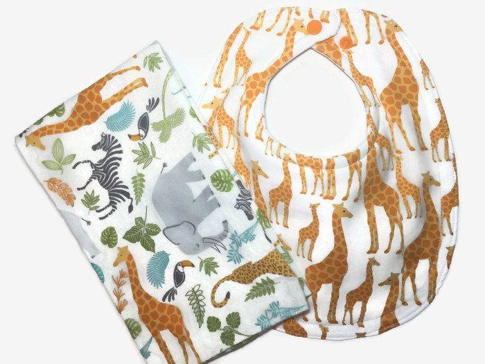 Safari Baby Set - Baby Gift Set - Giraffe Bib - Baby Burp Cloth - Baby Boy Bib - Safari Baby Nursery - Bib and Burp Cloth - Baby Boy Gift - by BeastiesBabies on Etsy
