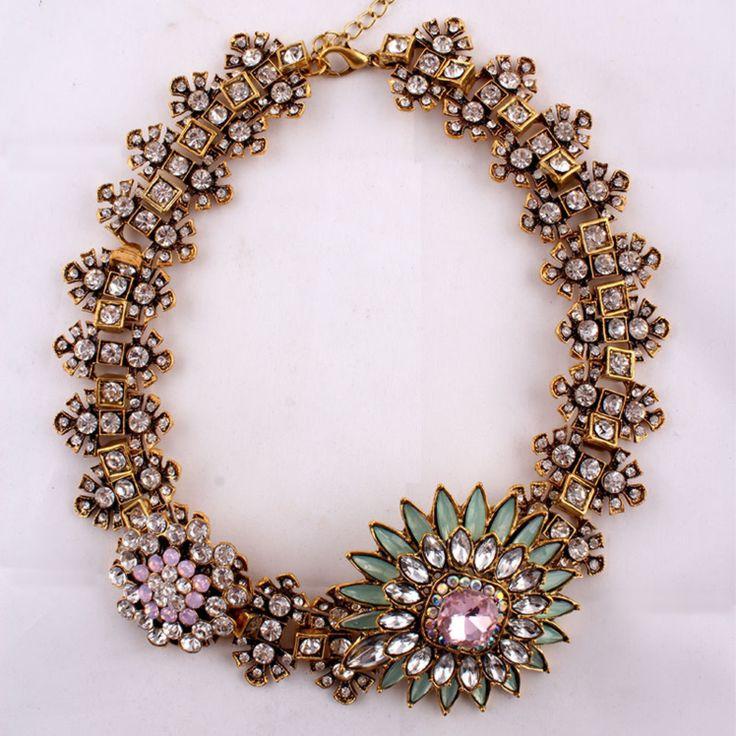 Green/Lilac Crystal Rhinestone Collar Statement Necklace $65