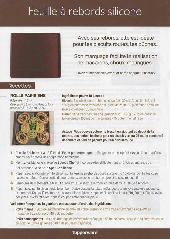 Fiche recette Feuille silicone - Tupperware 1/2 : Roll parisien
