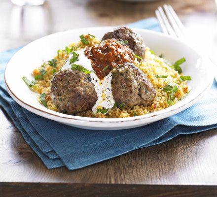 Moroccan lamb meatballs with harissa & couscous recipe - Recipes - BBC Good Food