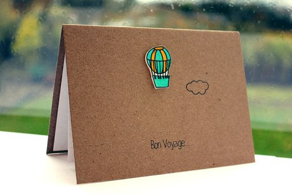 Handmade Bon Voyage Card  //  Goodbye Card  //  Leaving Card  //  Hot Air Balloon