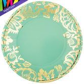 Teal Plates with Gold Foil Design