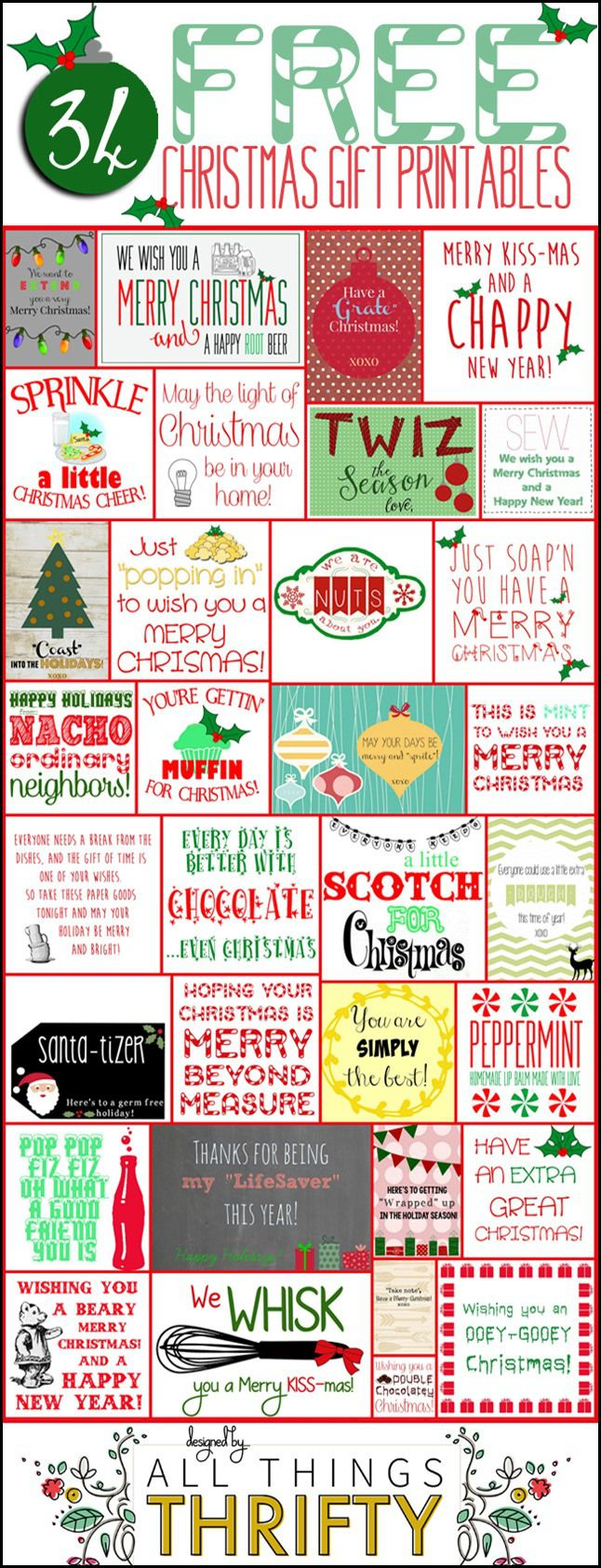#HAPPYHolidays : 34 FREE Christmas Gift Tag Printables from All Things Thrifty -- Tatertots and Jello #DIY