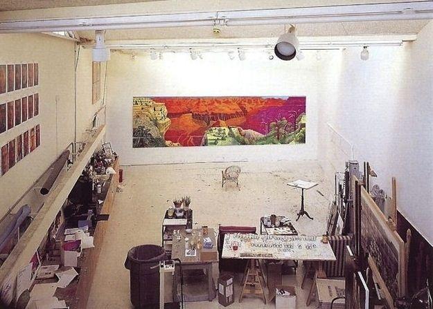 Workspace of David Hockney, painter.