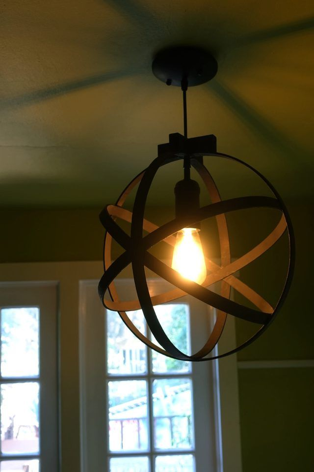 Quilting hoops and a pendant light kit make this gorgeous focal piece.
