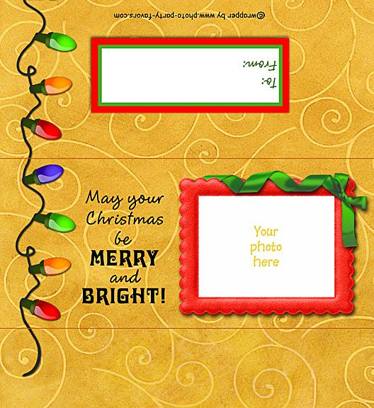 Christmas Lights FREE Printable Candy Bar Wrapper with easy instructions for a standard 1.5 oz chocolate bar. Ready to personalize with your photo and message. More free printables and party stuff at www.photo-party-favors.com