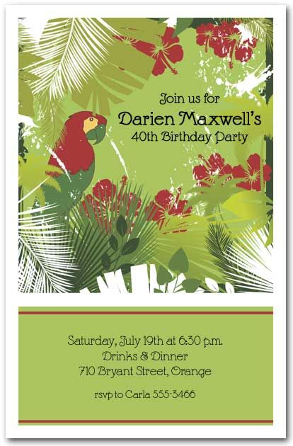 Tropical Party Invitations: Red Parrot and Palms Invitation
