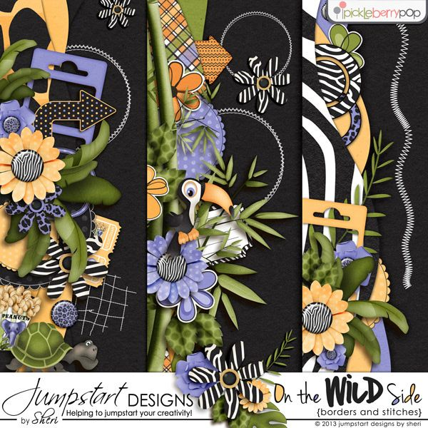 On the Wild Side ~ Borders Digital scrapbook kits $