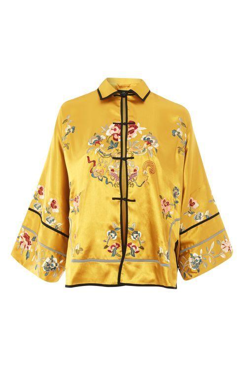 PETITE Embroidered Satin Kimono