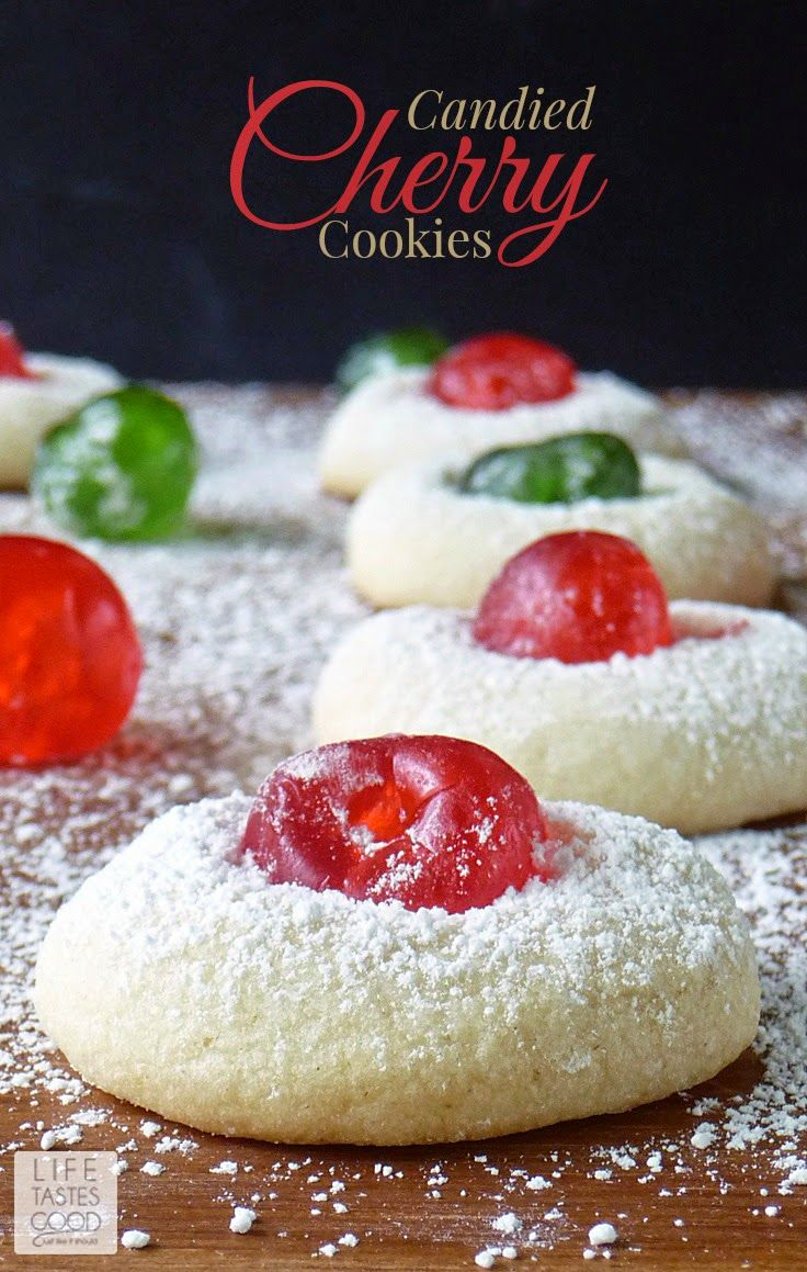 Candied Cherry Cookies | by Life Tastes Good are a wonderful addition to your Christmas cookie tray. A delicate vanilla cookie studded with a sweet candied cherry is as delicious as it is beautiful. These festive cookies are easy to make too!:
