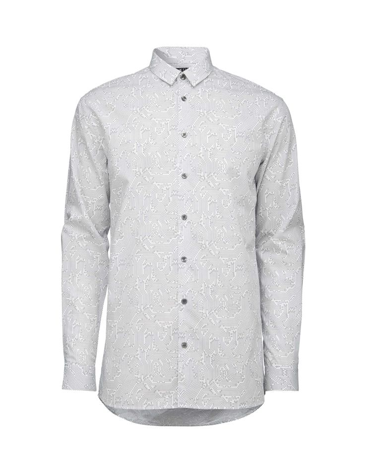 Men's shirt in printed cotton poplin. Small collar. Slim fit. Longer length.