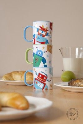 Robot patterned BPA free polyester mugs by Designvonal available at dvshop.hu