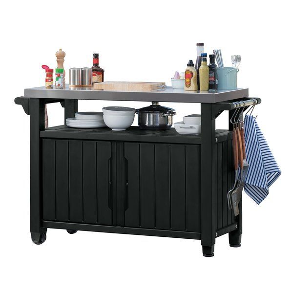 Cambron Caster Bar Serving Cart Grill Table Bar Serving Cart Indoor Outdoor Kitchen