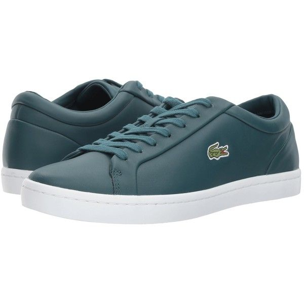 Lacoste Straightset Lace 317 3 (Dark Green) Women's Shoes (2,280 MXN) ❤ liked on Polyvore featuring shoes, synthetic shoes, laced up shoes, dark green shoes, round cap and lace up shoes