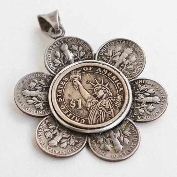 "Necklace made from Coins - Flower, US Dimes and Dollar Coin, ""Liberty Blossom Necklace"", Coin Jewelry"