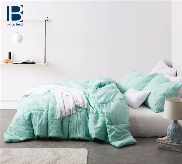 The beautiful BYB Yucca Blended Textured Quilt - Single Tone will #Brighten your bedroom with it's minty cool color and texture design! #Mint #Comforter #Quilt #Mint_Decor #Yucca #Patchwork #Mint_Bedding #Cozy_Comforter #Designer #Bedroom_Decorating_Ideas #TwinXL #Full #Queen #King #Byourbed #BYB #Green_Bedding #Cute_Bedding #Dainty