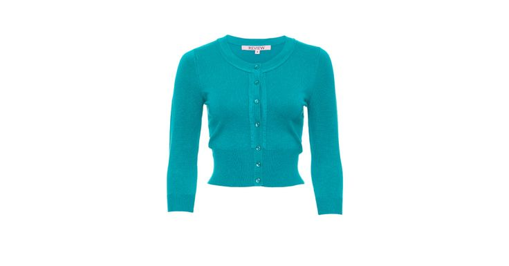Review Australia - Chessie 3/4 Sleeve Cardi in Teal Teal