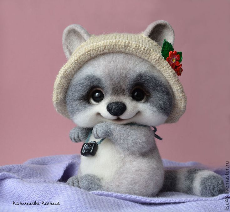 Купить Тутси - серый, енот, енотик, еноты, игрушка из шерсти, шерстяная игрушка, Сухое валяние