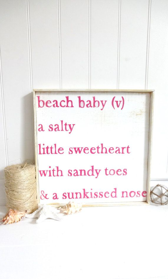 Baby Bye The Sea Beach Baby Poem    Plank Style with Beach Wood Encasement    16 x 16    Pearl White and Bikini Pink    Beach Cottage Cute and