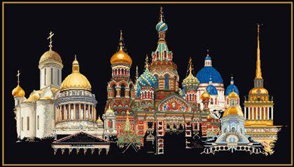 San Pietroburgo - Nero da Thea Gouverneur - Citt� - Kit Ricamo - Casa Cenina