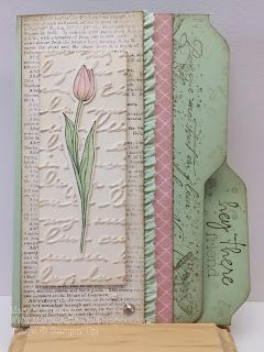 Mary's Craft Room: Backyard Basics-vertical file folder card with printed paper, script embossing and flower