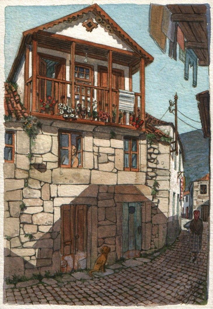 A rural skyscraper - Original art, small 5x7 landscape watercolor