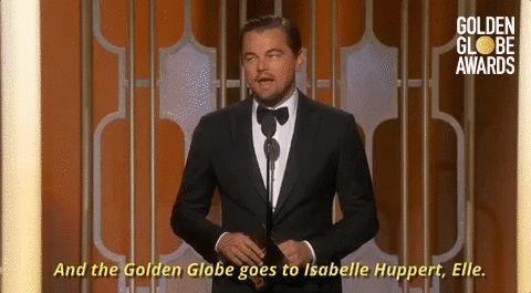 Golden Globe Awards leonardo dicaprio golden globes golden globes 2017 and the golden globe goes to isabelle huppert #leo#leodicaprio#goldenglobes2k17