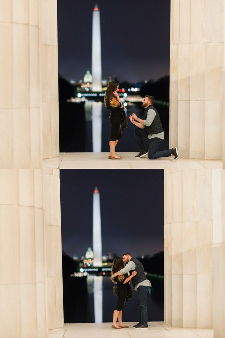 We're swooning over this surprise proposal at the Lincoln Memorial. <3