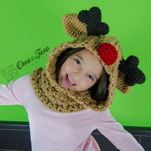 Reindeer and Moose Hood Crochet Pattern by One and Two Company