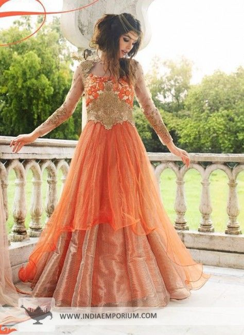 Orange Elegant Net Gown Anarkali with Floral Embroidery #Anarkaligown #Gown #Anarkali #Designersuit #Indowestern #indiaemporium