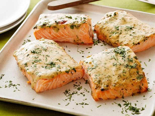 Amp up an old standby with 8 new ways to make salmon!: Food Network, Fish Seafood, Healthy Dinners, Most Popular Pin, Roasted Salmon, Healthy Eating, Mustard Maple Roasted, Salmon Recipes, Maple Salmon