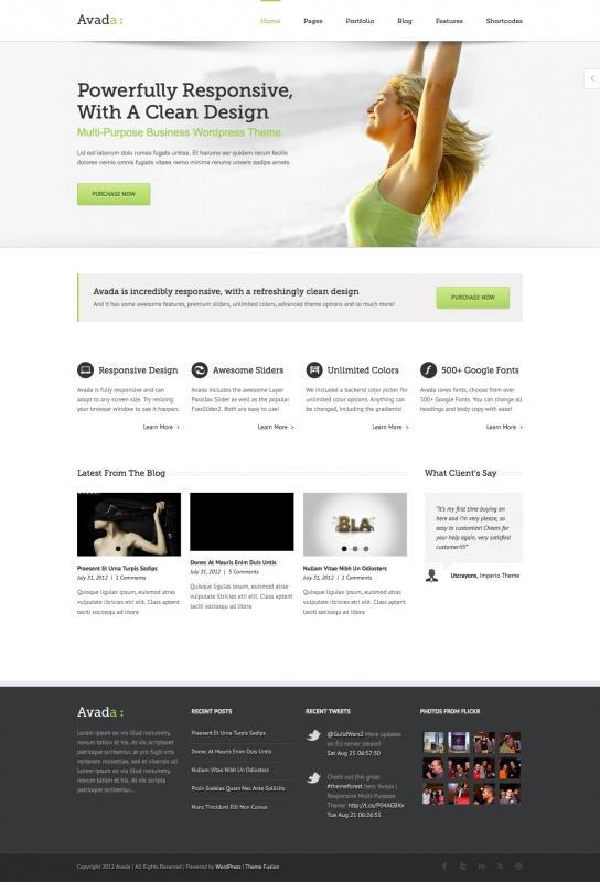 Avada - responsive template WordPress