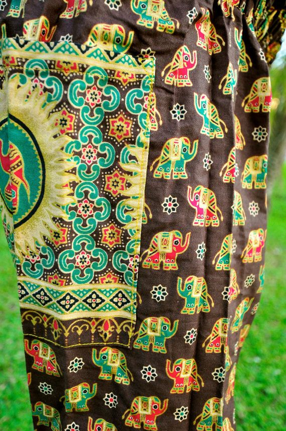 41093b8949 Brown w Green/Gold/Red Elephant Design | Yoga Pants, Yoga Harem pants, Yoga  Capris with Loose…