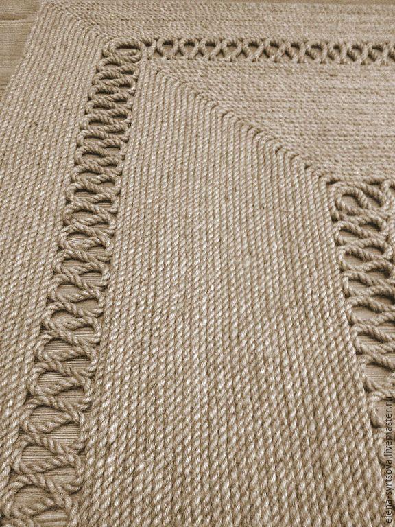 Купить Ковер циновка - бежевый, коврик, интерьерный коврик, джутовый ковер, джут, веревка