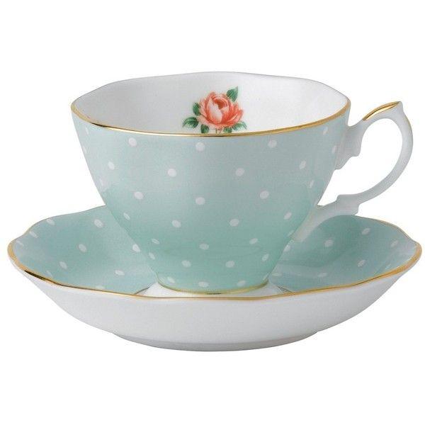 Royal Albert China Royal Albert Polka Rose Vintage Teacup & Saucer found on Polyvore