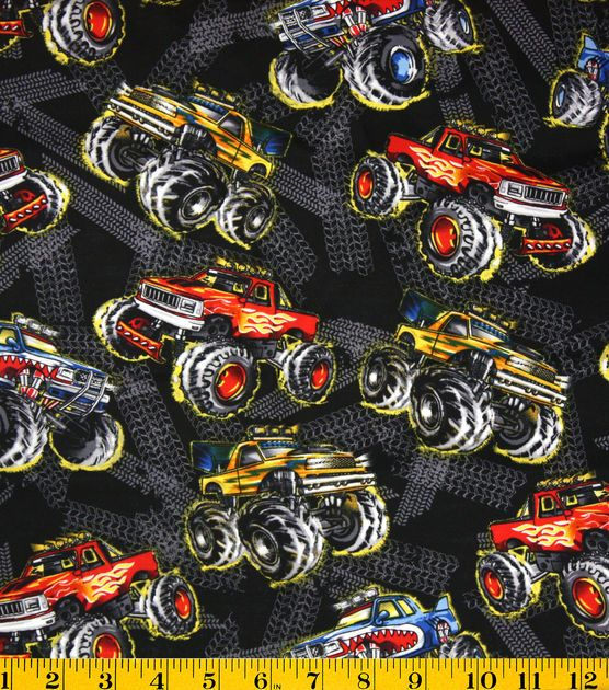 Novelty Quilt Fabric Monster Trucks At Joann.com