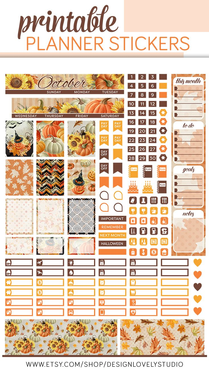October Mini Happy Planner, October Monthly Stickers Kit ...